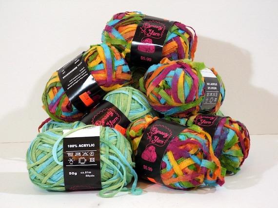 Destash Ribbon Yarn, 10 Skeins