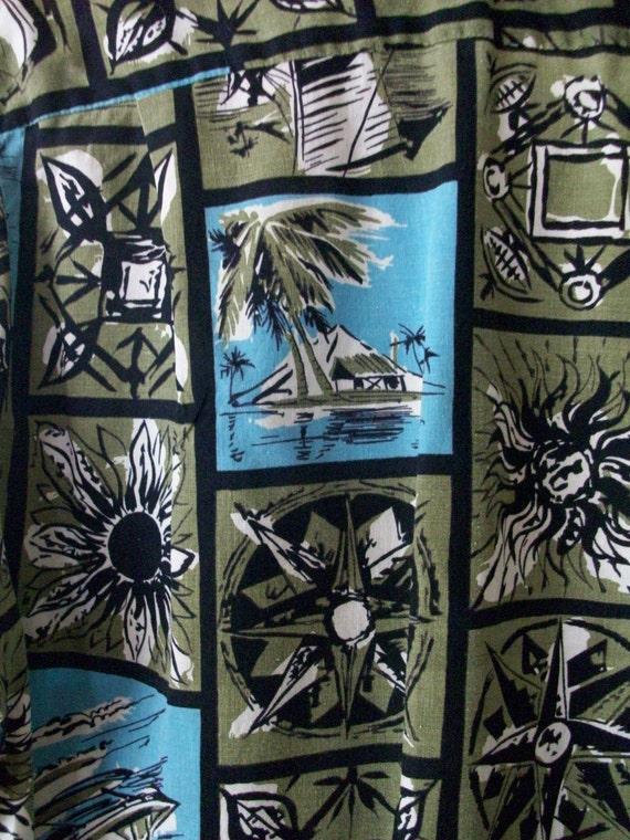 1950s Men's Tiki Hawaiian  Sanforized 'Arrow'  Short Sleeve Shirt-Medium