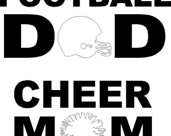 Football Dad OR Cheer Mom decal stickers