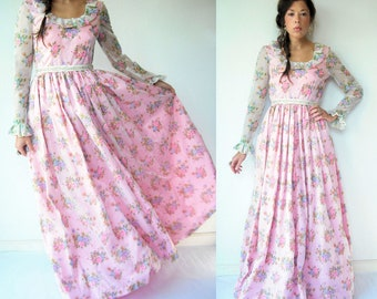 60's Swiss Dot Wedding Dress Vintage Cream and Pink Floral Organza Wedding Gown / Long Sleeve Full Skirt Party Ball Gown