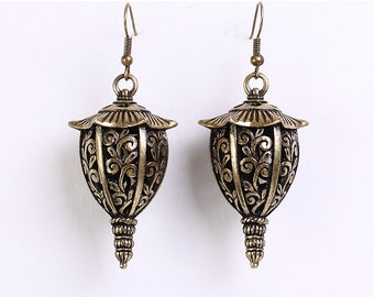 Large antique brass lantern dangle earrings (624) - Flat rate shipping