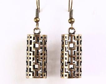 Antique brass lantern dangle earrings (634) - Flat rate shipping