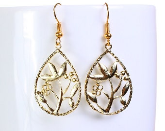 Gold plated flower filigree drop dangle earrings (650) - Flat rate shipping