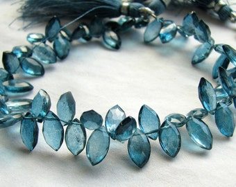Mystic London Blue Quartz, Faceted Marquise Briolettes (8k22)
