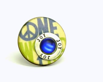 Peace sign Adjustable Button Ring - Green, Blue, Beige and silver