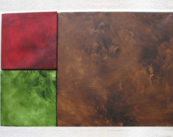 Living Room Decor - Living Room Art - 3 Mini Canvas Squares - Small Red, Green, Large Brown