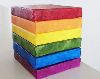 Rainbow Art - Rainbow Wall Art - Rainbow Room Decor- Rainbow Set of six 5x5 Mini Canvases