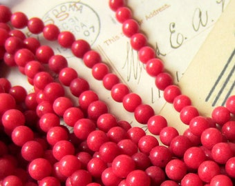 6mm Red Jade beads gemstone jewelry making supplies 60 round beads a962-(A1)