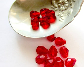 20 Crystal beads crimson red faceted teardrop 9mm 5mm  GC8,
