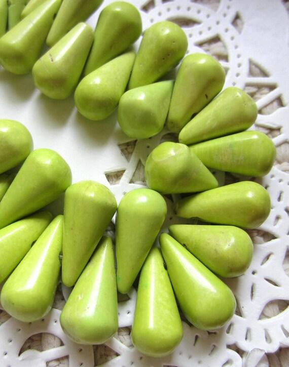16 Lime green howlite turquoise teardrop dangle beads green gemstones 20mm 10mm LG16D