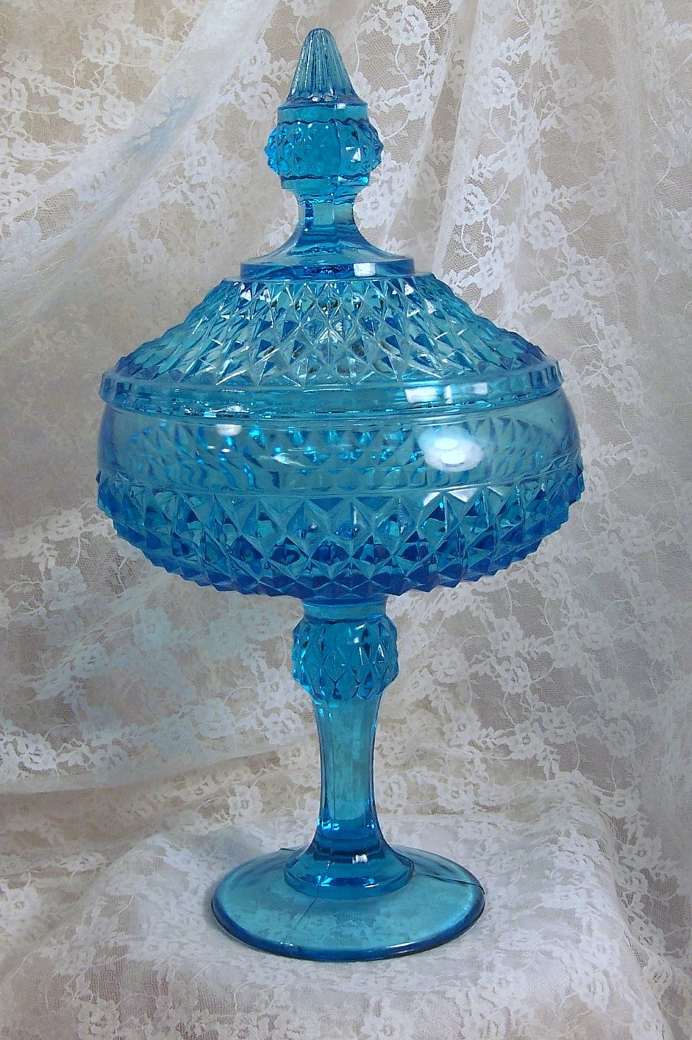 Aqua Blue Candy Dish Depression Glass Compote Collectible