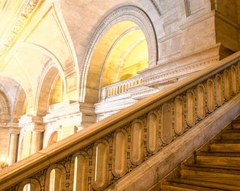 New York City Photo Manhattan Print nyc Library Photograph For Readers Urban Photography Marble lobby nyc30