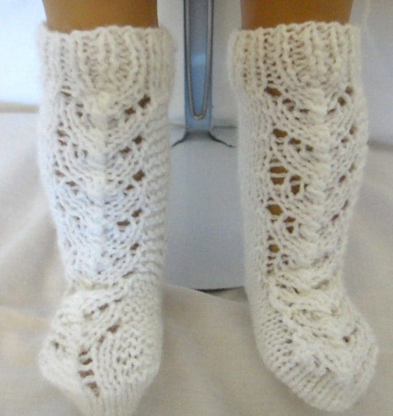 White Knit Socks Knee High American Girl Doll