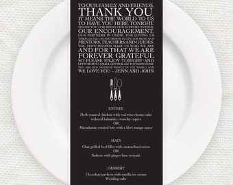 wedding reception menu and thank you place card - printable file - classic design, personalised table decor, place setting, elegant, favor