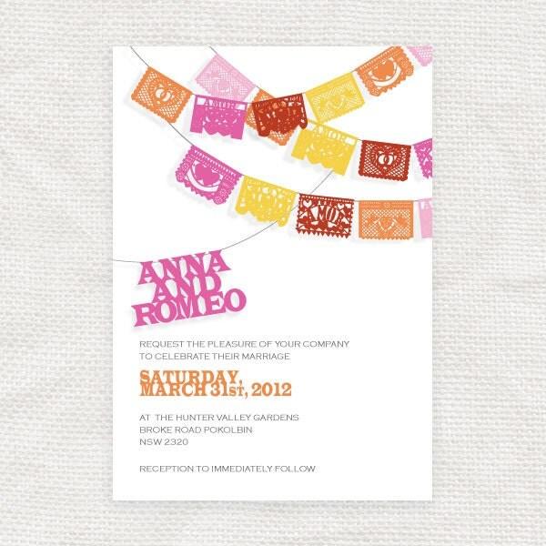 Printable Fiesta Wedding Invitation Papel Picado Diy Wedding
