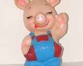 Vintage 1974 Russ Berrie Plastic Country Piggy Bank