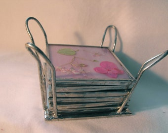 Coasters, Pink/White, Stained Glass & Wildflowers, Hand Made, Basket, OOAK