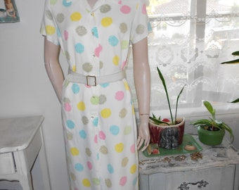 1950's-60's Day Dress - White w/Pastel Pattern, Button-Up, Straight Skirt - Size M-L