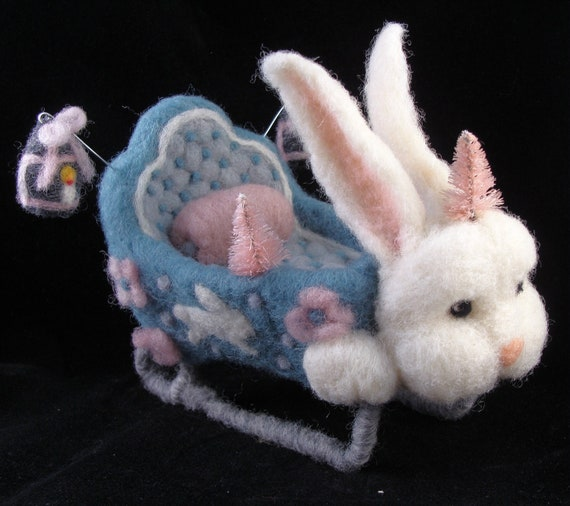 Custom Order (first of two payments) for a Burgundy and Green Needle Felted Rabbit Sleigh Wool Soft Sculpture by McBrideHouse
