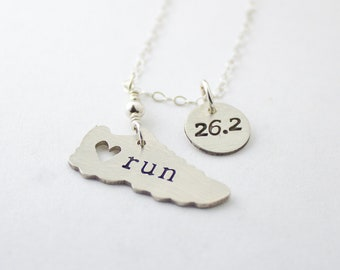 I love running necklace with 26.2 Marathon charm