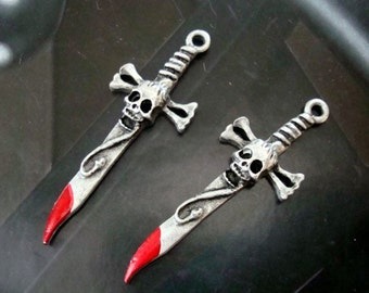 Gothic, Skull,Bones,Snake, Sword and Blood, Necklace or Ear ring Supply, Pair of Metal Pendants