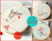 PDF. Hand embroidery Pattern. Deer, Bird and bunny.