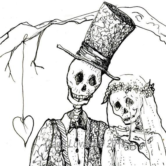 Skeleton Wedding Day Of The Dead Giclee Print Bride Groom
