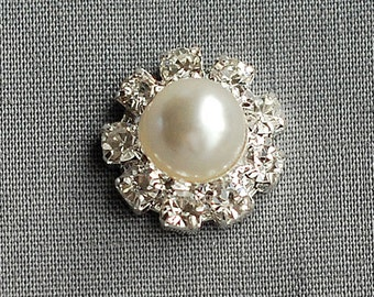 50 Rhinestone Buttons Silver Round Pearl Crystal  FREE SHIPPING US Wedding Invitation Flower Hair Comb Clip BT108