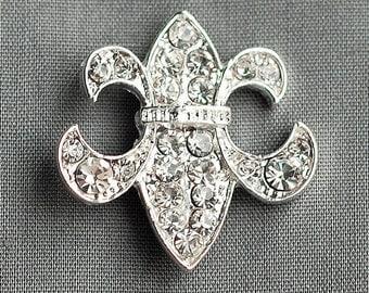 Rhinestone buckle Crystal Slider Fleur De Lis Bridal Brooch Bouquet Wedding Invitation Napkin Ring BK058 Wholesale Buckle
