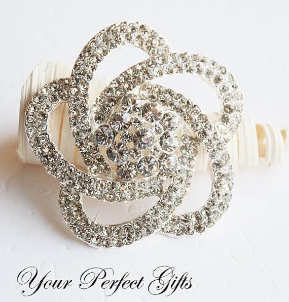 SALE Rhinestone Brooch Component Crystal Flower Bridal Hair Comb Shoe Clip Pin Jewelry Wedding Cake Decoration Invitation BR042
