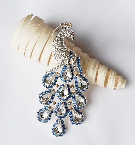 Rhinestone Brooch Component Crystal Peacock Bridal Hair Comb Shoe Clip Pin Wedding Cake Decoration Invitation BR104