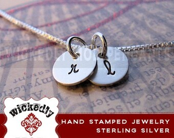 Personalized 2 disc initial Necklace - Sterling silver or gold-filled- Initial Necklace - Silver Jewelry - Laser Engraved - Monogram initial
