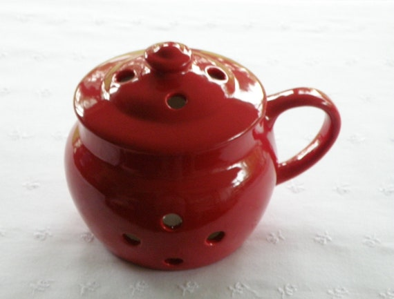 Large Red Garlic Pot With Handle -  New Pottery -  USA MADE