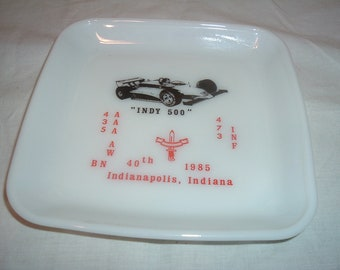 1985 INDY  500 milk glass  dietary products plate