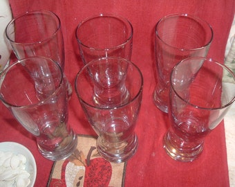 6 vintage anchor hocking  clear glass  beer glasses