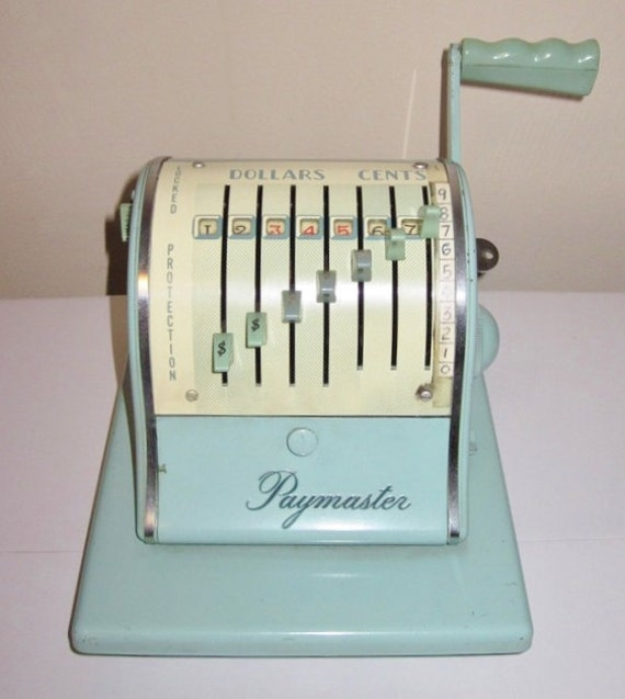 Vintage PAYMASTER Series S-1000 Check Writer in Seafoam Green