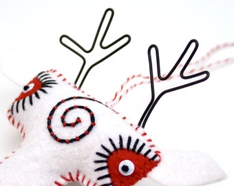 Felt Folk Art Reindeer Ornament, white with embroidered spiral, felt christmas ormanent