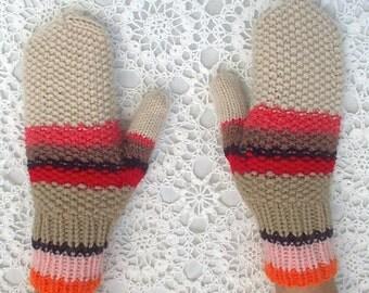 Mittens Orange Pink Red Brown Beige Hand Knit Women Ladies Teens