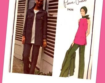 VOGUE Paris Original Sewing Pattern 2426 - Pierre Cardin - ELEGANT Cutaway Armholes Top, Pants & Jacket size 12 Bust 34 - UNCUT with Label