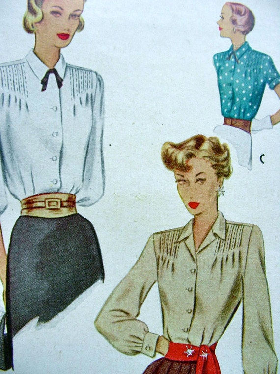 Vintage 1940s McCall Set of Blouses with Tucks -  Pattern 7332 - UNCUT - size 12/30