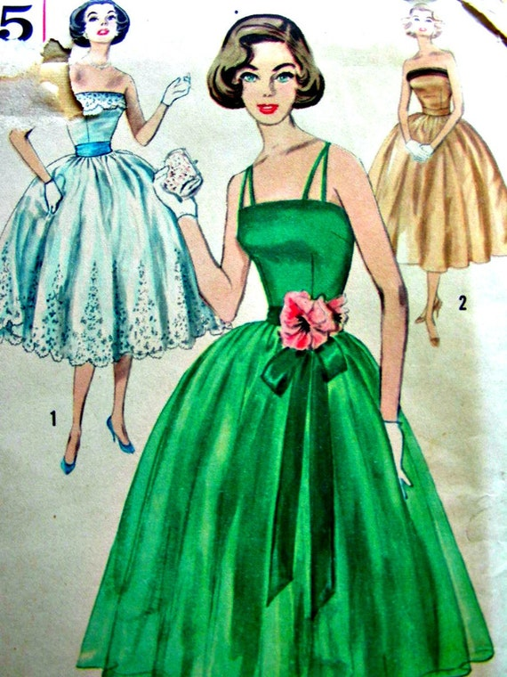 Vintage 50's Simplicity 2295 Pattern - Evening, Prom or Party Gown Dress - Uncut - Bust 36