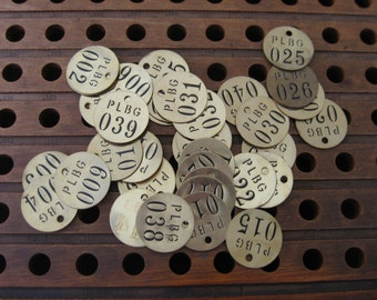 1 vintage brass number tag, round number tags, number tags, brass tags steampunk, diy, jewelry supplies, metal number tags, number disks