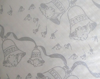 vintage christmas wrapping paper, holiday gift wrap, christmas paper, silver bells and angels,