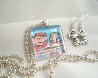 Christmas Winter  Necklace with  Glass with Snoppy Earring Set