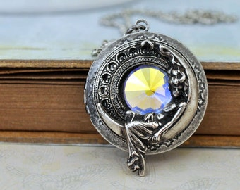 silver locket necklace, MOONLIT vintage Swarovski crystal glass jewel locket necklace in antique silver