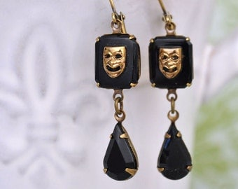 THE DRAMA QUEEN vintage glass theater mask earrings in antiqued brass