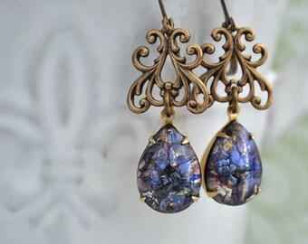 glass opal earrings - DARK VICTORIAN - vintage glass jewel drop earrings antiqued brass