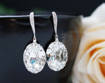 Wedding Jewelry Bridal Earrings Gifts Matte Rodium plated Cubic zirconia ear wires with Clear White Swarovski Crystal Oval drops