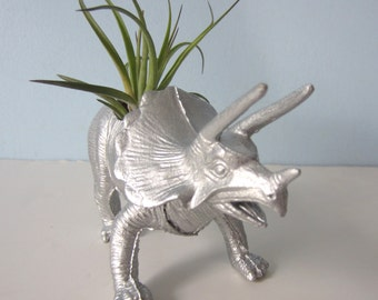 Upcycled Dinosaur Planter - Silver Triceratops with Tillandsia Air Plant