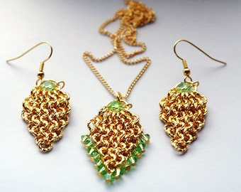 Gold And Green Leaves Pendant and Earrings